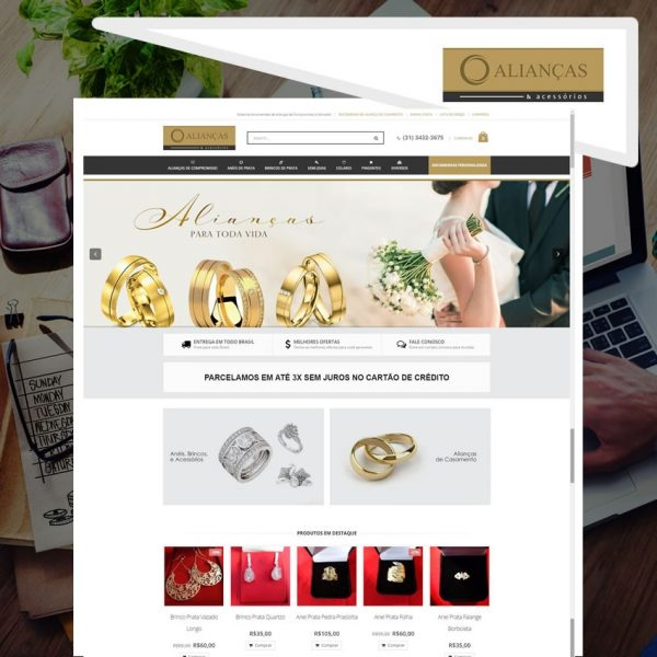 Criação de Loja Virtual para Alianças e acessórios
